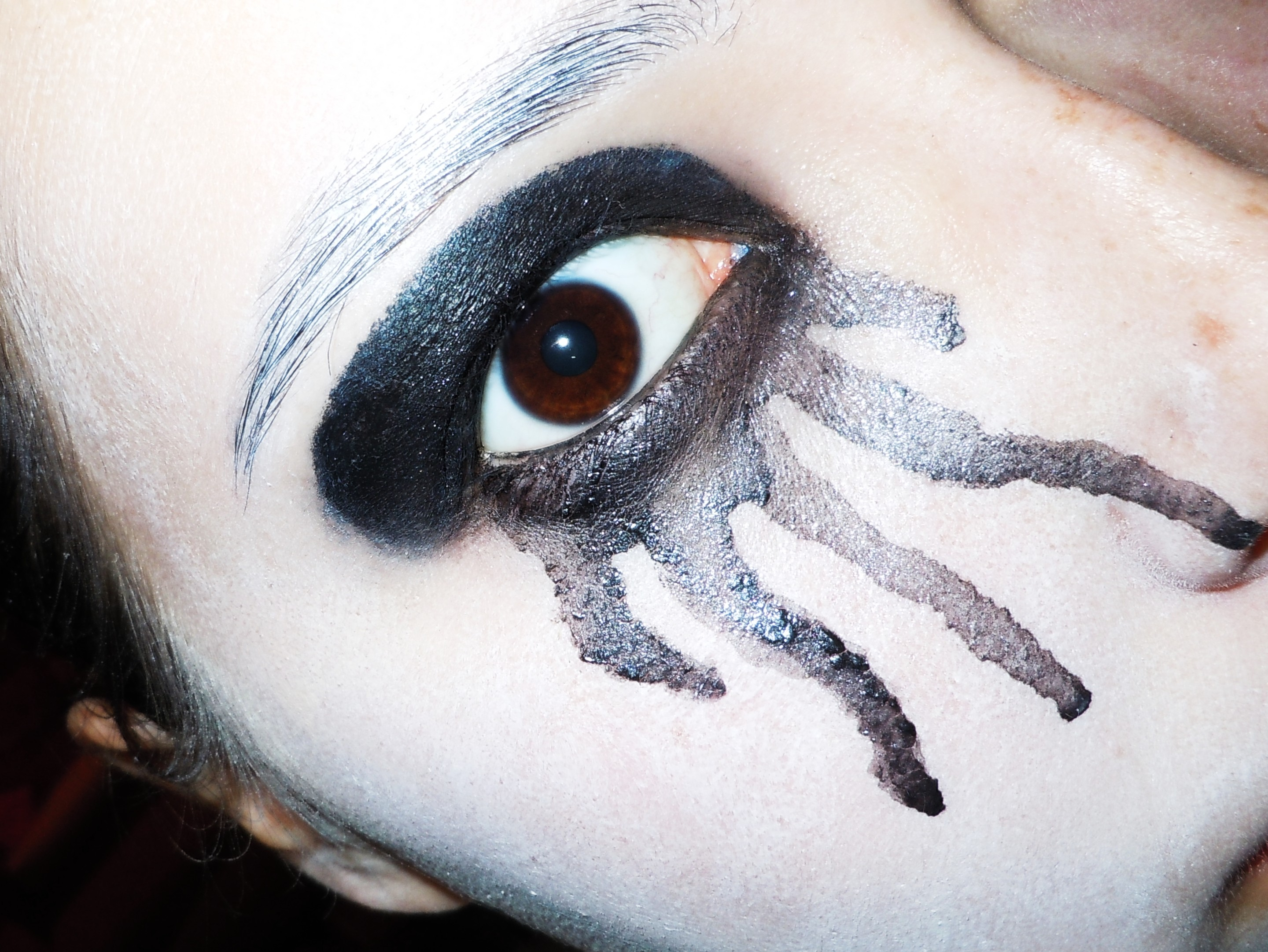 Uncategorized Black Face Paint Ideas halloween makeup ideas eye have a lot of feelings i literally just painted my face white colored in eyelid with black and watered down some paint then let it dribble cheek